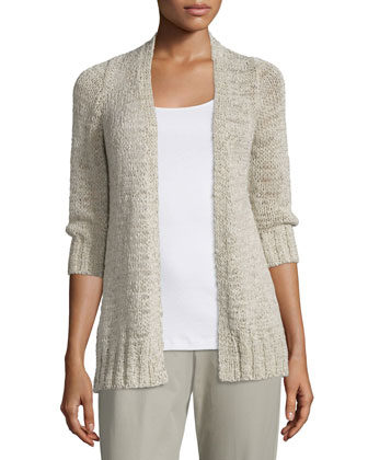 Rustic Twisted 3/4-Sleeve Cardigan, Women's