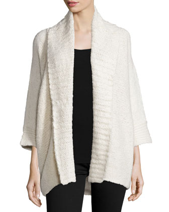 3/4-Sleeve Chunky Sweater, Antique Cream