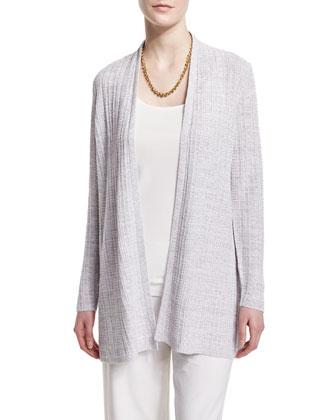 Fine Linen Grid Cardigan, Women's
