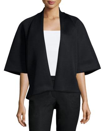 Half-Sleeve Open-Front Jacket, Black