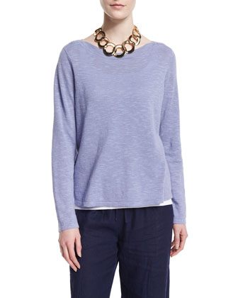 Long-Sleeve Organic Slub Top, Petite