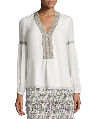 Long-Sleeve Folkloric Silk Top