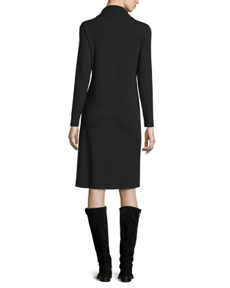 Twisted-Neck High-Low Jersey Dress