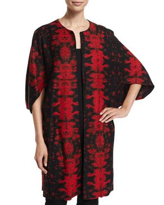 Half-Sleeve Two-Tone Jacket, Red/Black