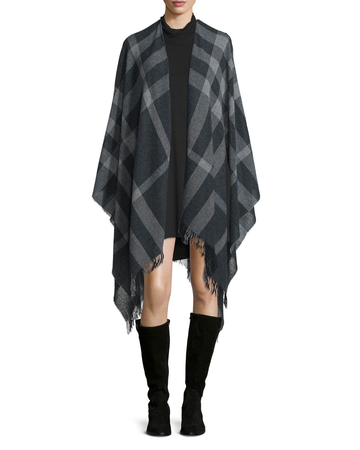 Plaid Traveling Scarf/Poncho, Women's, Grey - Eileen Fisher