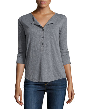 Candiss 3/4-Sleeve Henley Top, Medium Heather Gray