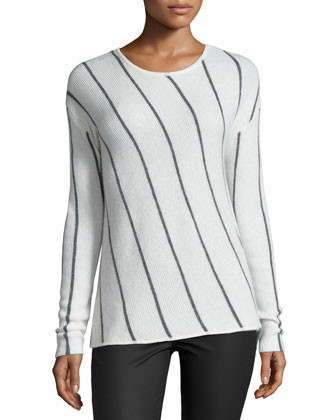 Erica Long-Sleeve Striped Top, Heather Gray/Milk
