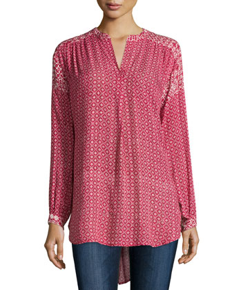 Alima Long-Sleeve Printed Top, Red/Cream