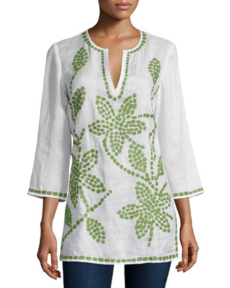 Floral-Embroidered Linen Tunic, Ivory/Green