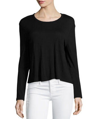 Classic Cropped Long-Sleeve Tee, Black