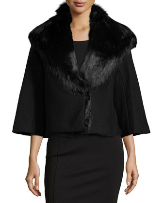 3/4-Sleeve Cloque Jacket, Black