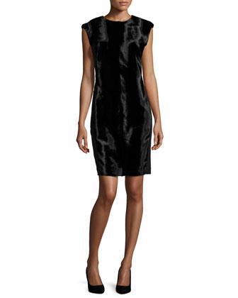 Sleeveless Pony-Velvet Dress, Black