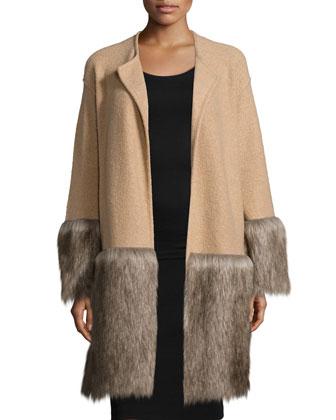 Long-Sleeve Open-Front Jacket, Camel