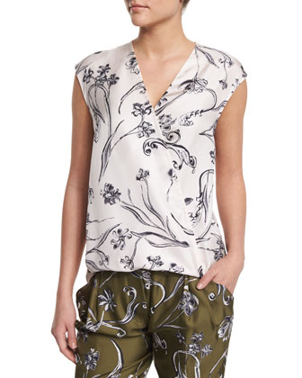 Floral Silk Surplice Top, Lilac