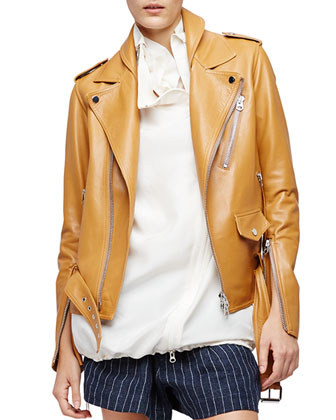 Leather Biker Jacket, Saddle