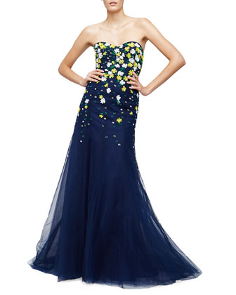 Floral-Embellished Strapless Ball Gown, Midnight/Multi