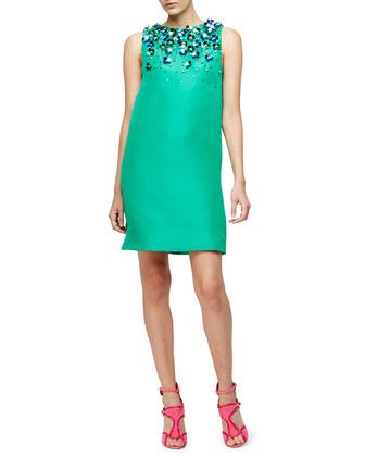 Sleeveless Floral-Embellished Shift Dress, Spring Green