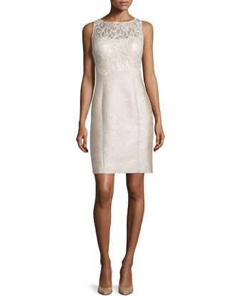 Sleeveless Lace-Bodice Tweed Sheath Dress