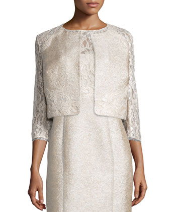 3/4-Sleeve Lace Tweed Cropped Jacket & Sleeveless Lace-Bodice Tweed Sheath ...