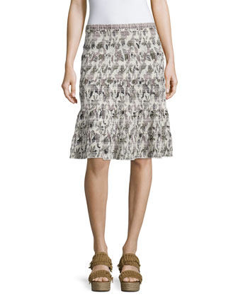Wisteria Smocked Cotton Skirt