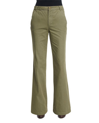 High-Waist Flared Trousers, Agave