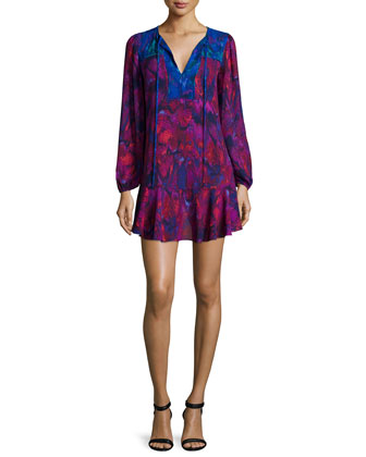 Long-Sleeve Flounce-Hem Mini Dress, Plum