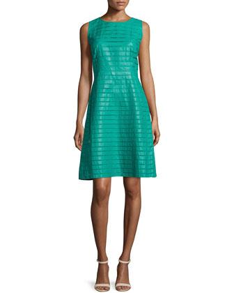 Laurette Sleeveless Leather Dress, Aquarium