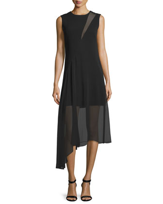 Sleeveless Asymmetric Crepe/Georgette Dress