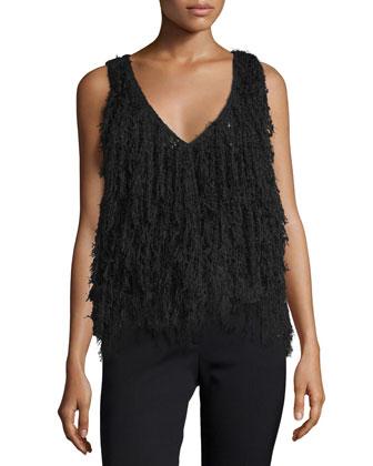 Sleeveless Delicate-Fringe Pullover, Black