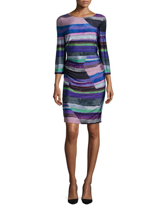 3/4-Sleeve Round-Neck Striped Sheath Dress, Multi
