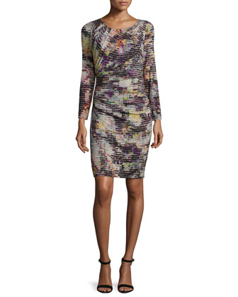 Long-Sleeve Round-Neck Floral-Print Dress, Multi