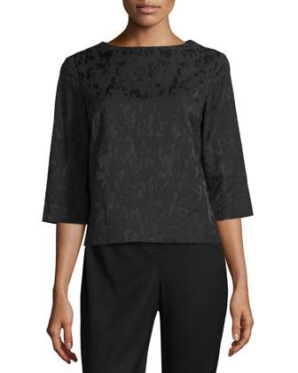 Malina 3/4-Sleeve Blouse, Black