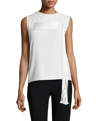 Sleeveless Top W/Cording Detail, Winter White