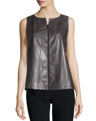 Chandry Zip-Front Leather Blouse, Ash