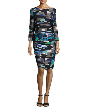 Round-Neck Abstract-Print Sheath Dress, Multi
