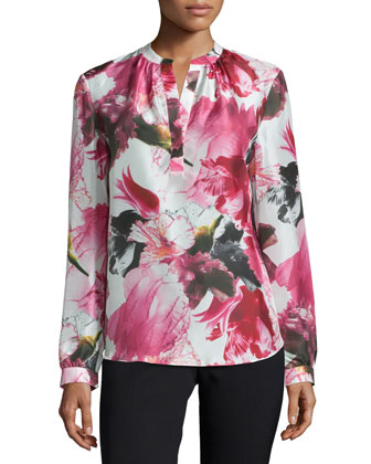 Sharla Floral-Print Long-Sleeve Blouse, Wildflower/Multi