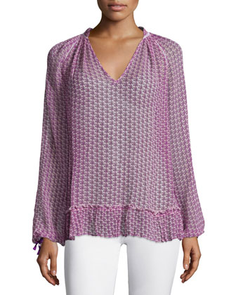 Sermi Long-Sleeve Printed Top, Janeiro