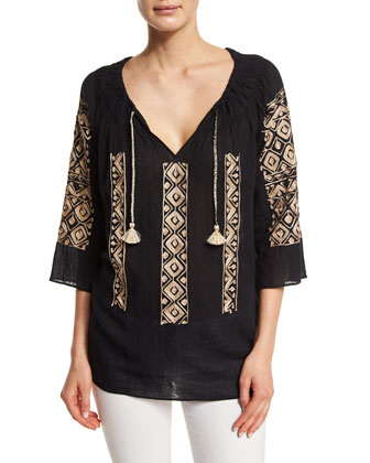 Ernalta 3/4-Sleeve Embroidered Top, Black