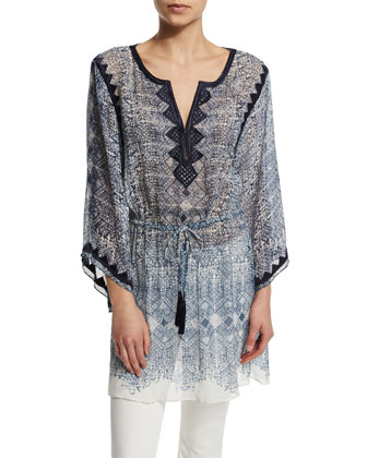 Swana Drawstring-Waist Embroidered Top, Blue Opal