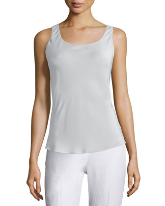 Sleeveless Silk Bias Tank, Sterling
