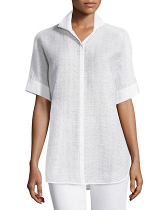 Marlis Short-Sleeve Blouse, White