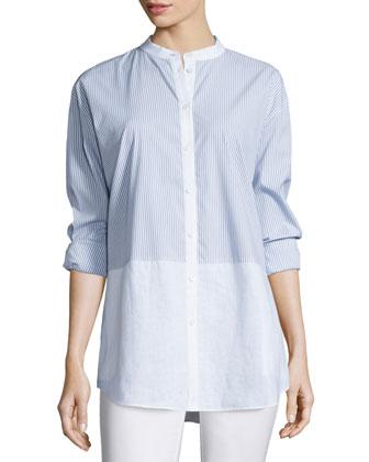 Long-Sleeve Button-Front Shirt, Celestial Blue