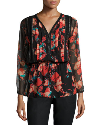 Fiore Long-Sleeve Floral-Print Blouse, Black
