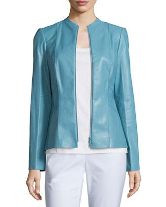 Denise Lambskin Leather Zip-Front Jacket