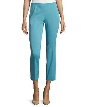 Bleecker Stretch-Cotton Cropped Pants, Blue