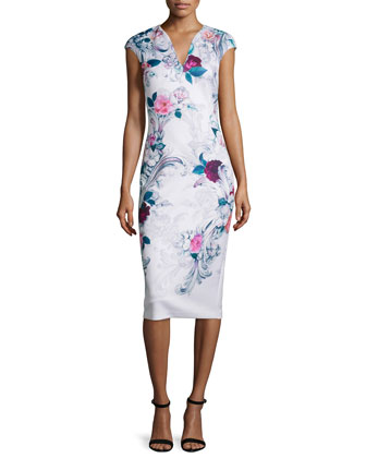 Marcela Acanthus Scroll-Print Sheath Dress, Light Pink
