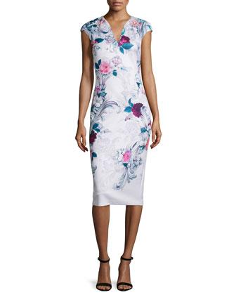 Marcela Acanthus Scroll-Print Sheath Dress, Light Pink