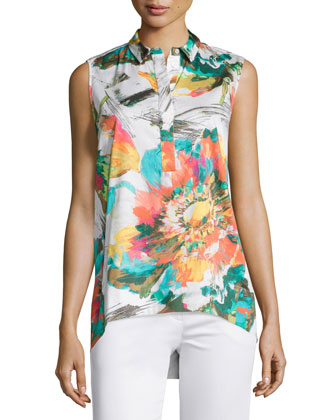Vinda Floral-Print Sleeveless Blouse, Aquarium/Multi