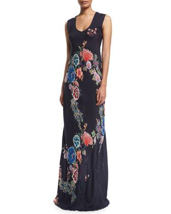 Nellis Floral-Print Silk Tassel Scarf