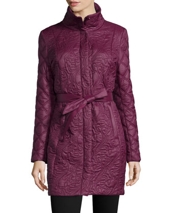 Milano Belted Puffer Jacket, Burgundy
